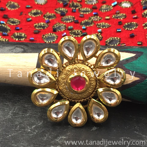 Finger Ring  - Kundan Pearl with Red