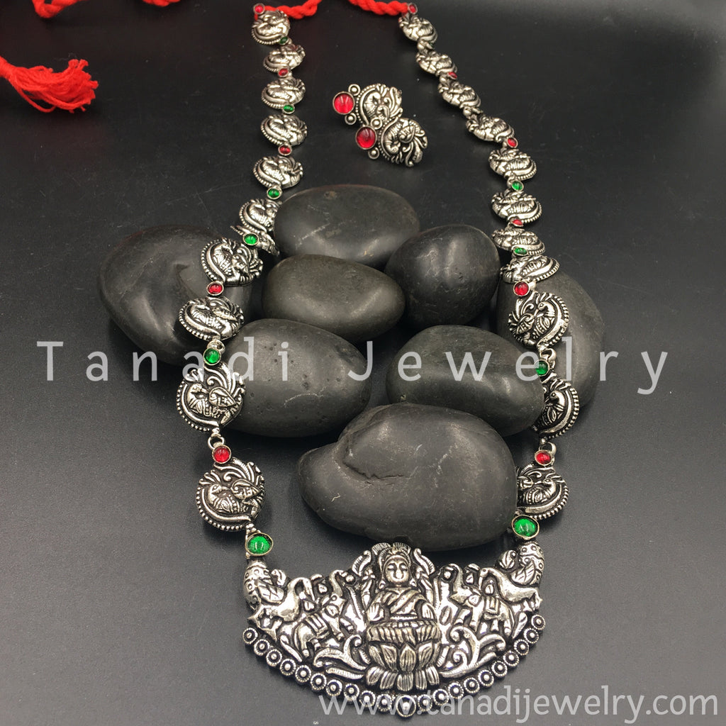 Long Oxidised Necklace - Mayur - 3