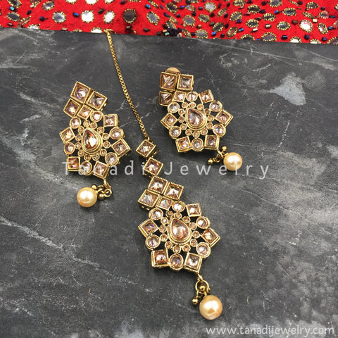 Earrings and Maang Tika Set - Design 1 - LCD