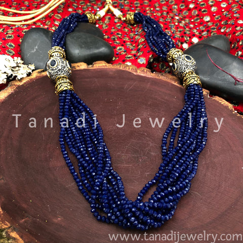 Multi String Disco beads - With Side Pendants - Blue