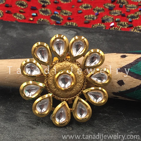 Finger Ring  - Kundan Pearl with White