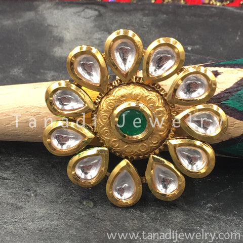 Finger Ring  - Kundan Pearls with Green