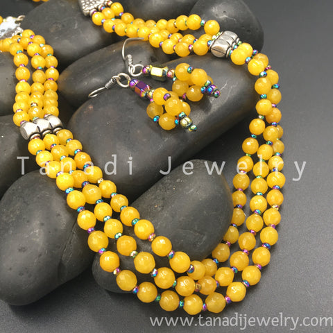 Beads Mala - Three Line - Yellow