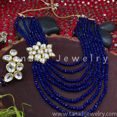 Multi String Disco beads with Kundan - Blue - Side Pendant
