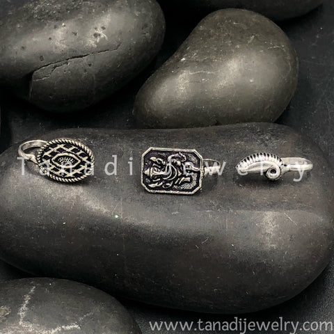 Oxidised Nose Pin Set - 3