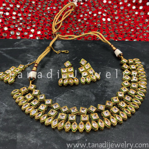 Kundan Necklace  - Three Lines Square