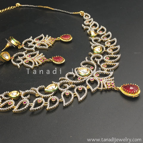Zircon Necklace with Red stones and Kundan
