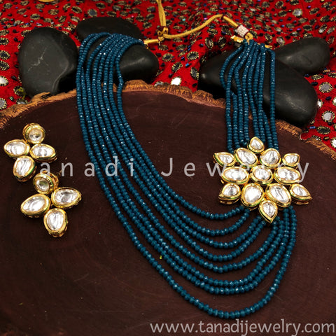 Multi String Disco beads with Kundan - Turquoise - Side Pendant