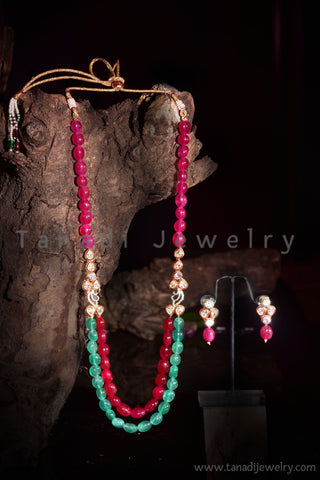 Pink and Green Long stone souble String Mala