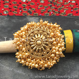 Finger Ring  - Golden  Moti Cluster - Cream Moti
