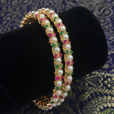 Moti Bangles with Pink and Green stones