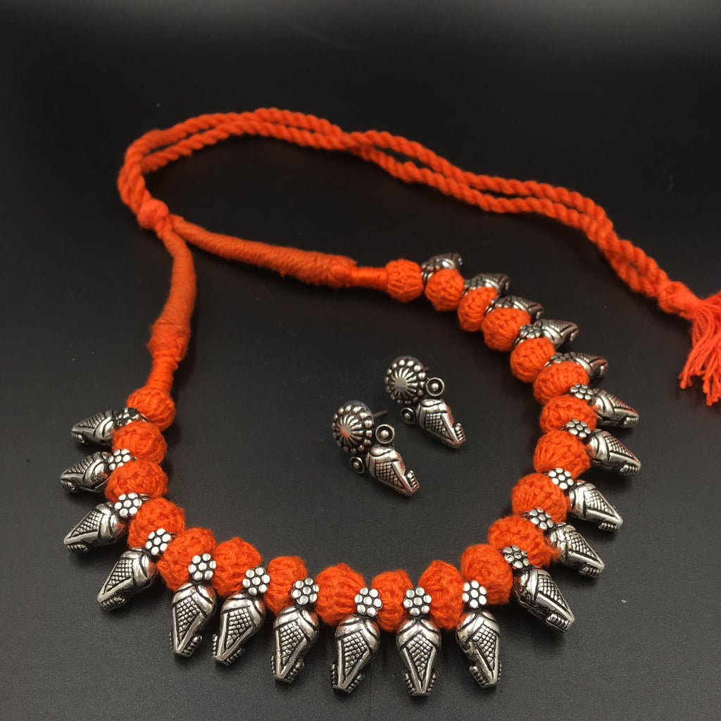 Oxidised Thread Charms Necklace - Chaukat - Orange