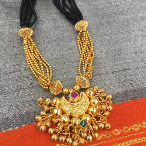 KOPM - Chandrakor with Pink/Green stones and Golden balls jhirmil