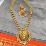 Long temple necklace with red stones and moti