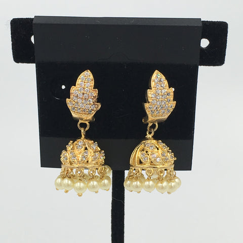 Small Jhumki's with Pearl and White Stone