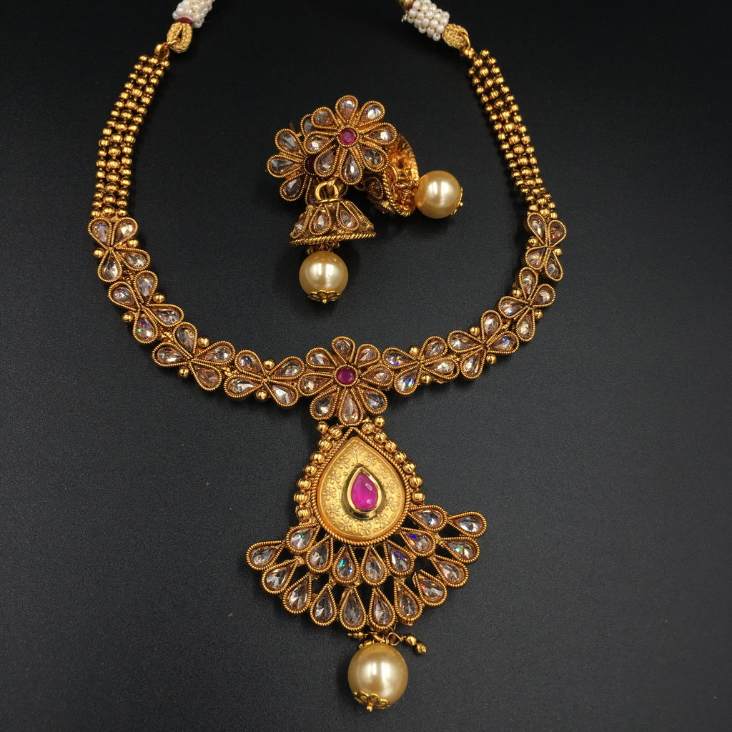 LCD pearl drop fit-necklace with red stones and moti
