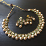 Pearl drop White stone fit-necklace with red and green beads