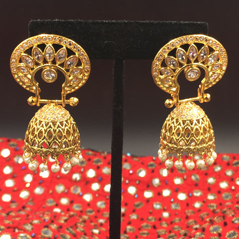 Mandalam Earrings with white or red color stone option