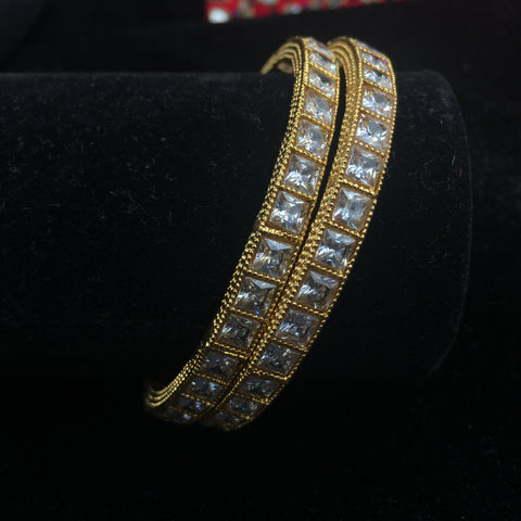 Bangles with square white stones - set of 2 bangles