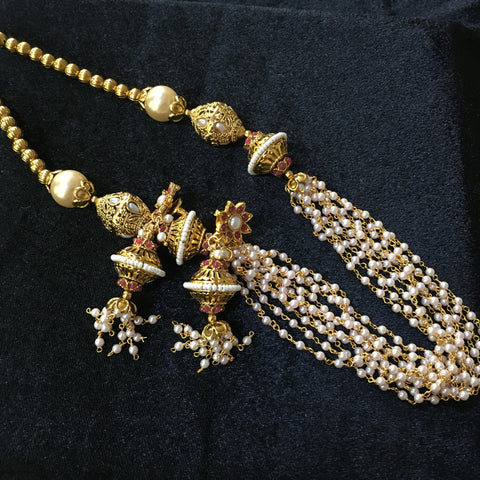 Antique Long necklace with Moti Chain