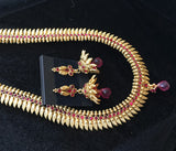Long Red Stone necklace with Leaf design