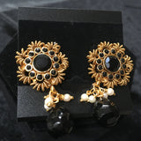 Moti button earrings with moti