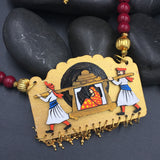 Hand Painted Wooden Necklaces - Maroon Beads Doli