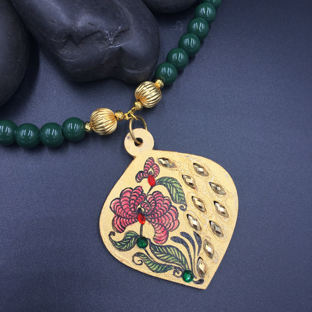 Hand Painted Wooden Necklaces - Flower Design - Green Beads