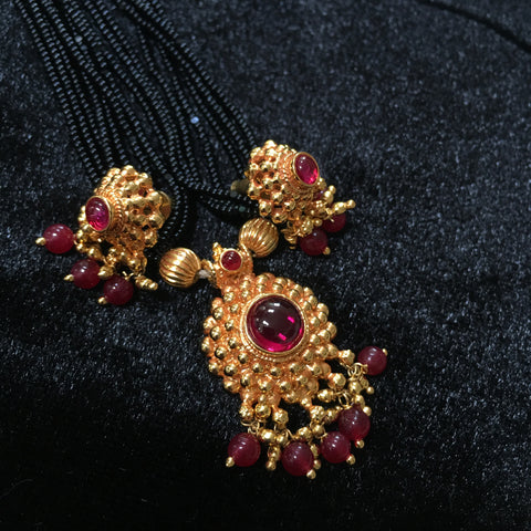 KOPM - with Maroon stone pendant and earrings