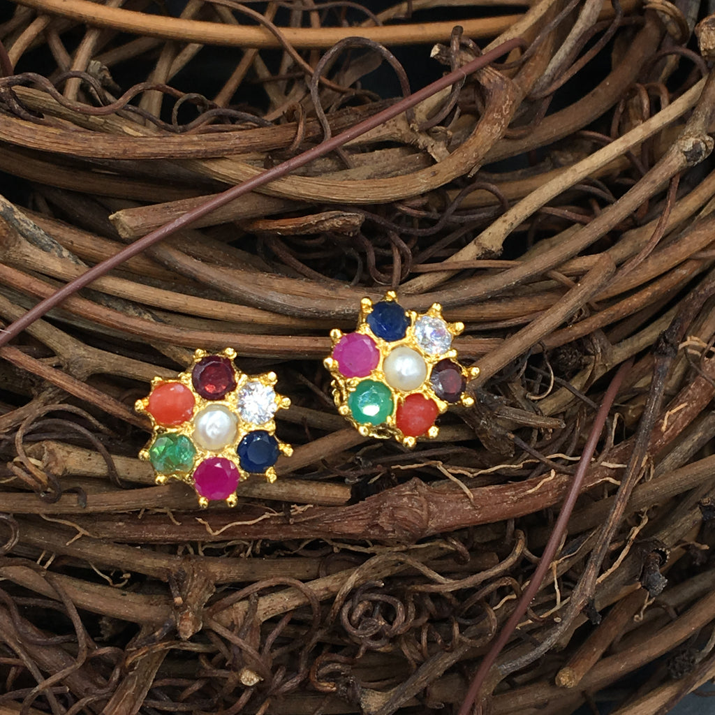 MIxed Ratna Flower Button Earrings
