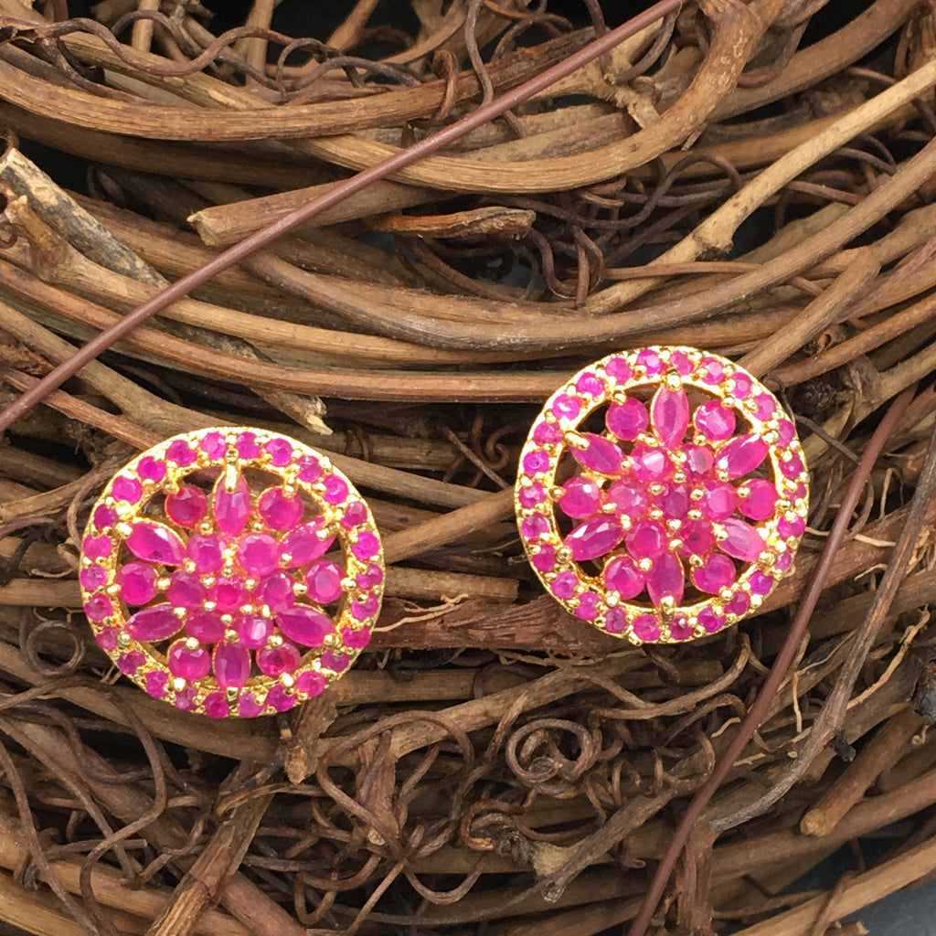 Round Pink Flower Button Earrings