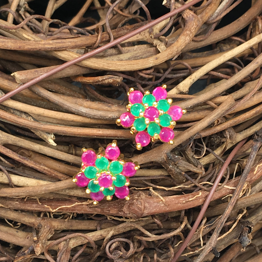 Green and Pink Flower Button Earrings -1