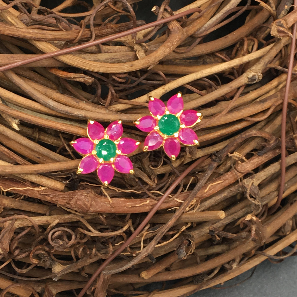 Green and Pink Flower Button Earrings - 2