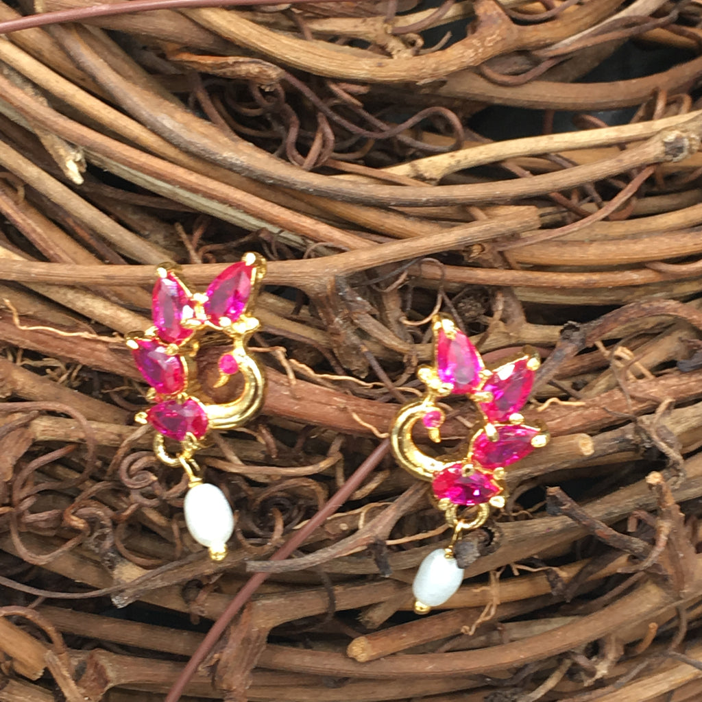 Mayur Button Earrings - Pink