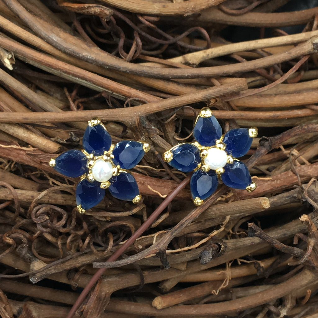 Blue Flower Button Earrings