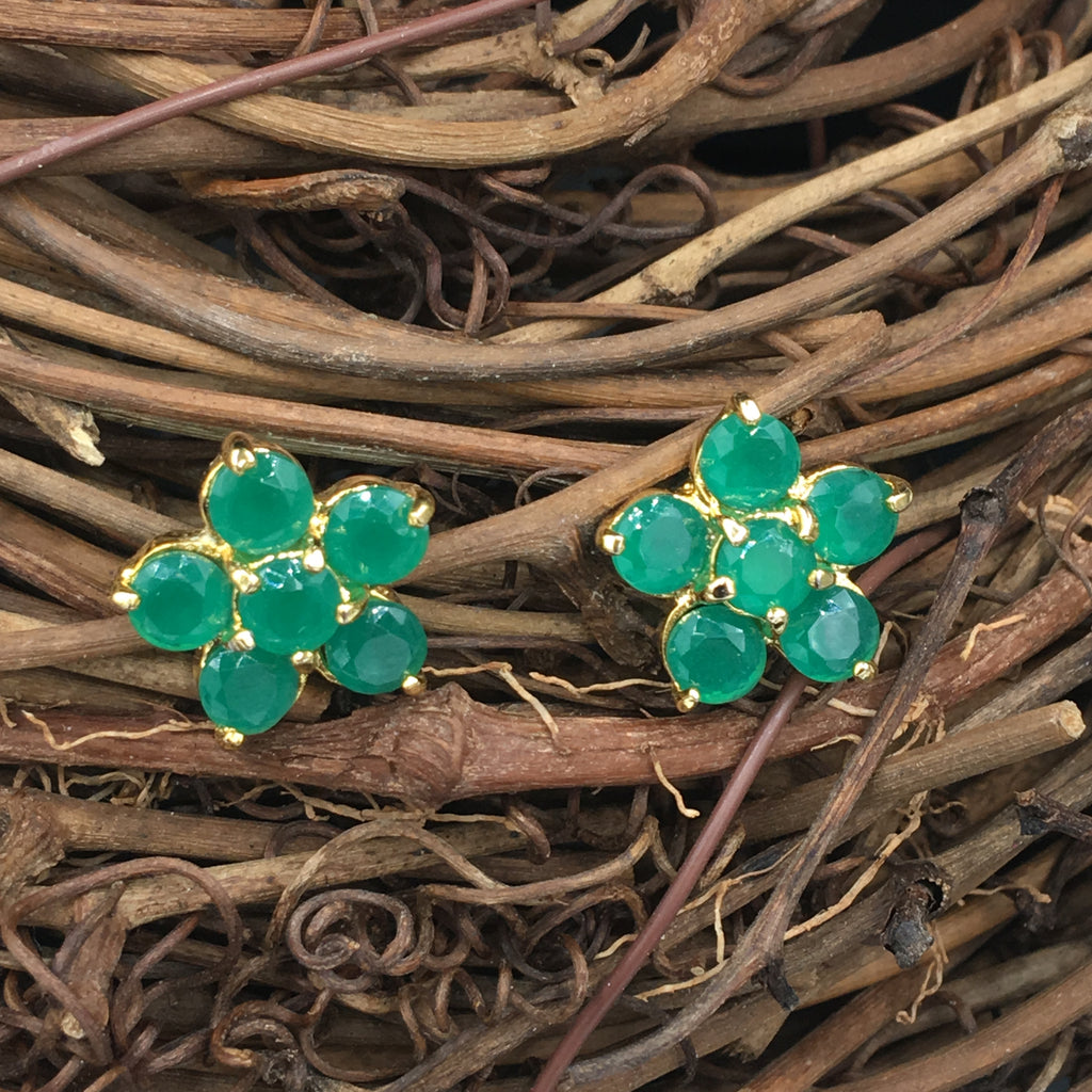 Green Flower Button Earrings