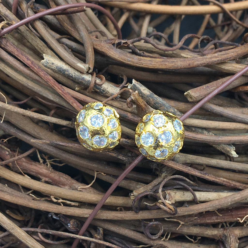 Golden White Stone Button Earrings