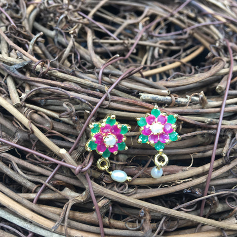 Green and Pink Flower Button Earrings