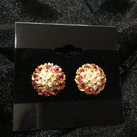 Kudi with Pearls and Ruby - Marathi earrings