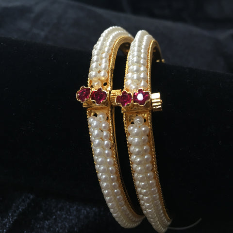 Three line Moti Bangles with Pink Stone