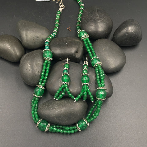 Beads Mala - Double Line - Green Necklace