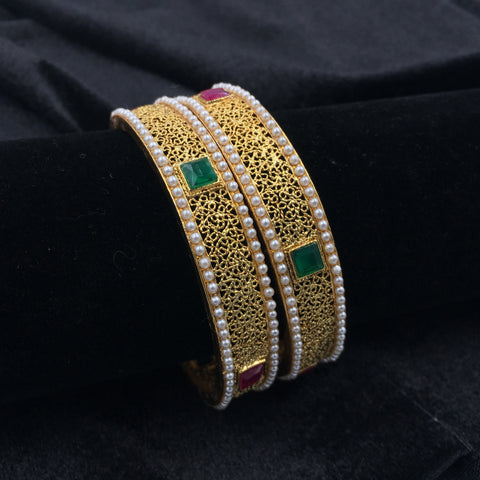 Bangles with Green/Red squares with Moti - 1-  Chan