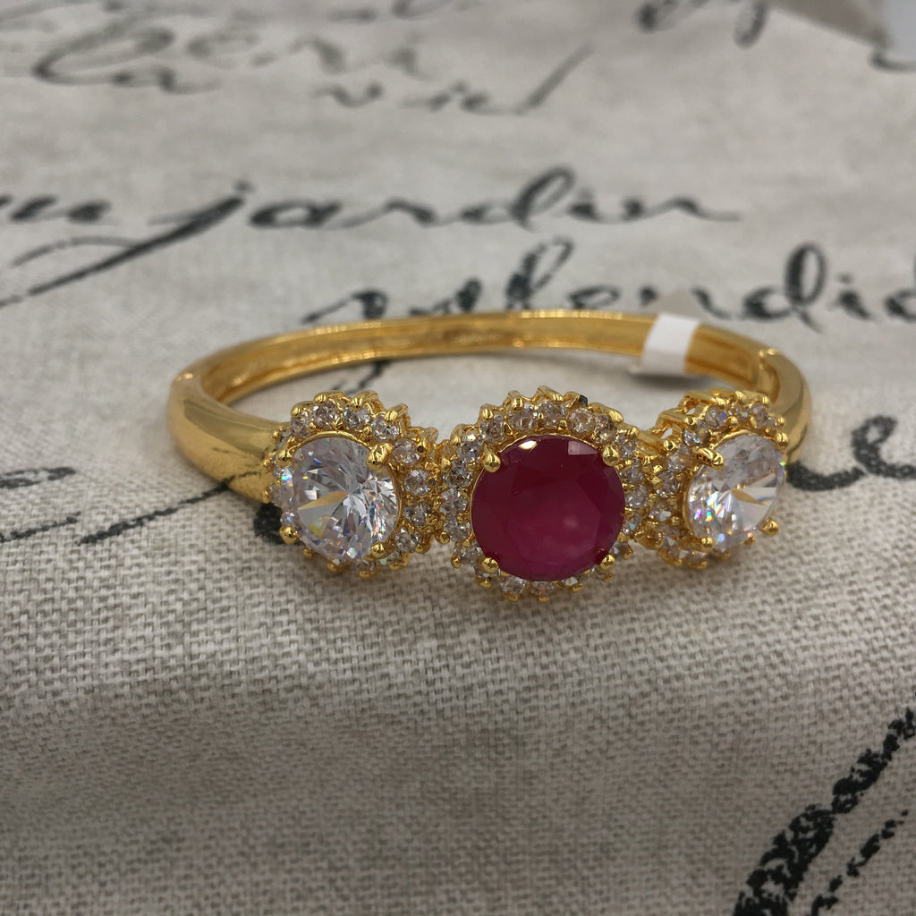 Kada with white and pink stones