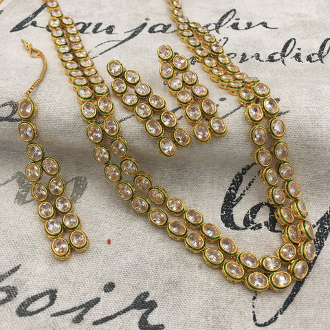 Long 2 string kundan necklace