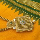 Square pendant necklace with moti and green stones