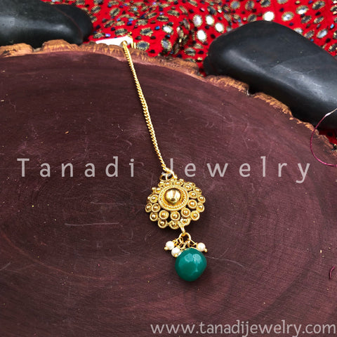 Golden Bindi - Green Stone