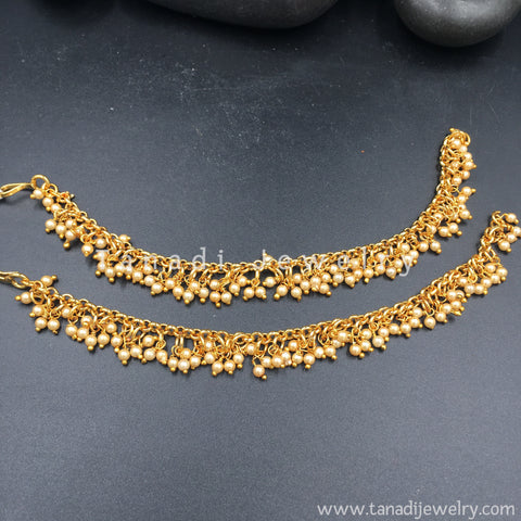 Golden Ear Chain with Moti cluster line - Single Layer