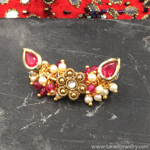Nose Ring - Kashibai - Pearls and Flower - Pink Stone
