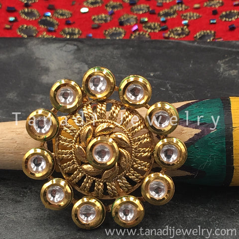 Finger Ring  - Kundan Circle with White