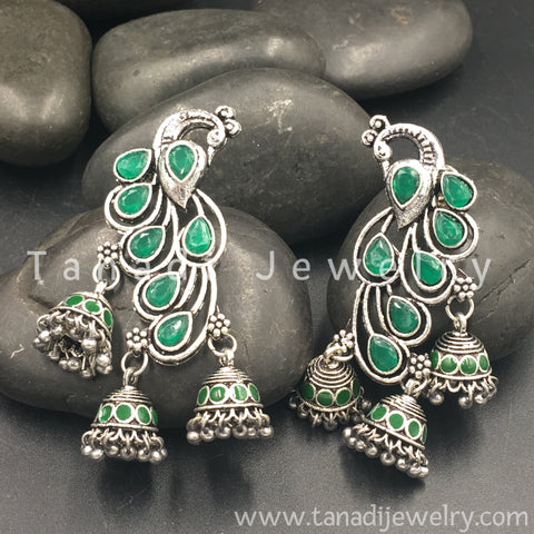 Mayur Oxidised  Earring with Green